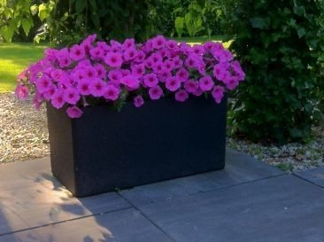 Set of 2 flower pots IQBANA RECTANGLE black