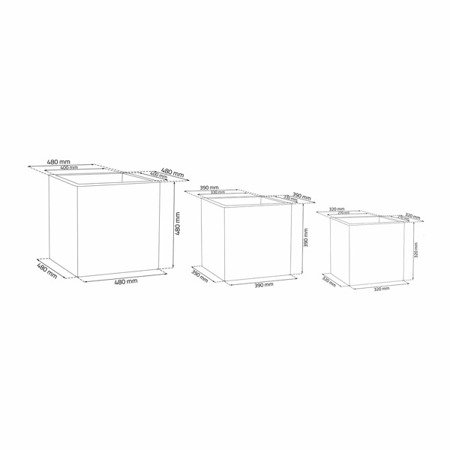 Set of 3 IQBANA SQUARE pots - Grey - 390/320/250