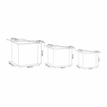 Ein Set von 3 IQBANA SQUARE Töpfen - Grau - 480/390/320